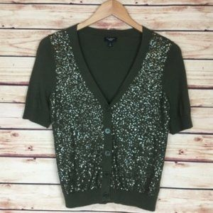 Talbots Sequined Short Sleeve Cardigan Button SP